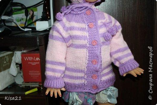 В ожидании дочки потихоньку подготавливаем ей гардероб. Вот такие комплекты на вырост получились. Персиковый комплект связан крючком. Фиолетовый спицами. Может и не совсем мастерски, но я осталась довольна своей работой...=) фото 7