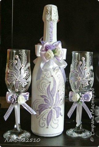 """Заказали недавно свадебный набор для """"сиреневой"""" свадьбы... сделала два варианта и один """"дежурный""""... названия на горлышках бутылок чуток """"подкрасила"""", чтобы не нарушать правила сайта... фото 3"""
