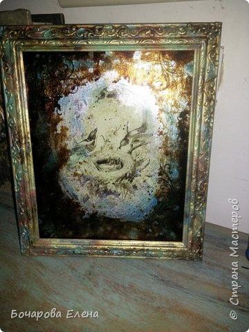 Добрый день! Сотворилась рамочка с имитацией старинного зеркала.На раме самодельная паста ,покраска - имитация металла. фото 2