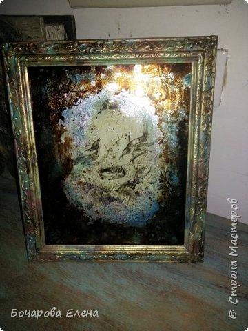 Добрый день! Сотворилась рамочка с имитацией старинного зеркала.На раме самодельная паста ,покраска - имитация металла. фото 1