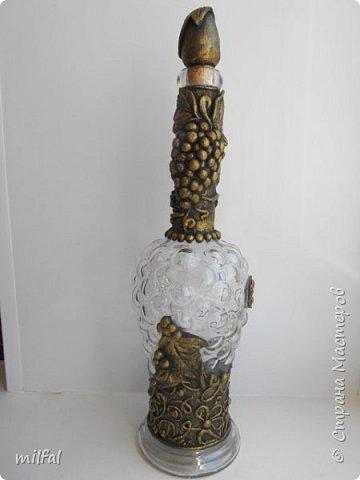 Материалы: бутылка стеклянная,скрученные жгуты,солёное тесто горох,салфетка. фото 4