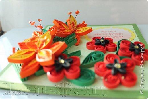 Первые гладиолусы и лён. Была просьба сделать оранжевые цветы. Показалось грустно одни гладиолусы и добавила цветов льна.  фото 2