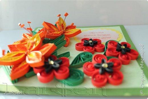 Первые гладиолусы и лён. Была просьба сделать оранжевые цветы. Показалось грустно одни гладиолусы и добавила цветов льна.  фото 3