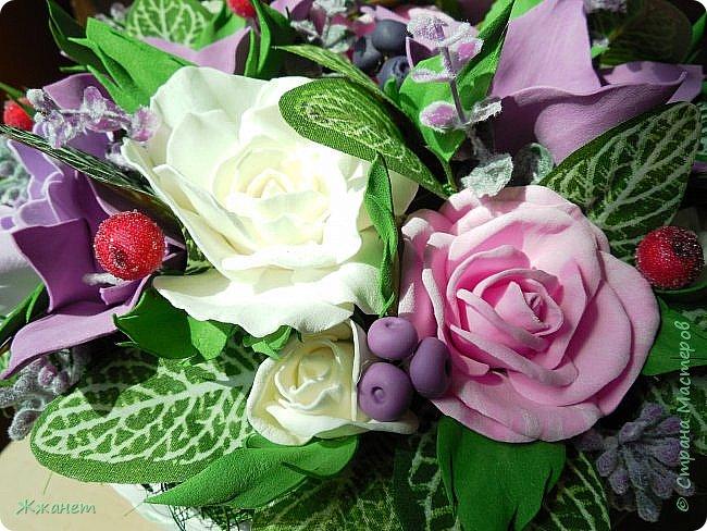 Корзинка с цветами из фома. фото 6