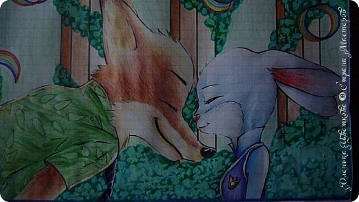 """Всем привет! Сегодня я сдаю работу на конкурс """"Зверополис""""(http://stranamasterov.ru/node/1022836?c=favorite). Я нарисовала главных героев - Ника и Джуди. Головы я разрисовывала поверх карандашей ручками, поэтому бумага там неровная, исправить не удается. Извиняюсь... фото 1"""