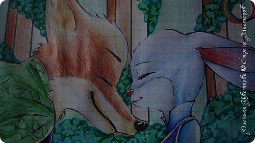 """Всем привет! Сегодня я сдаю работу на конкурс """"Зверополис""""(http://stranamasterov.ru/node/1022836?c=favorite). Я нарисовала главных героев - Ника и Джуди. Головы я разрисовывала поверх карандашей ручками, поэтому бумага там неровная, исправить не удается. Извиняюсь... фото 2"""