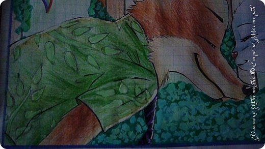 """Всем привет! Сегодня я сдаю работу на конкурс """"Зверополис""""(http://stranamasterov.ru/node/1022836?c=favorite). Я нарисовала главных героев - Ника и Джуди. Головы я разрисовывала поверх карандашей ручками, поэтому бумага там неровная, исправить не удается. Извиняюсь... фото 5"""