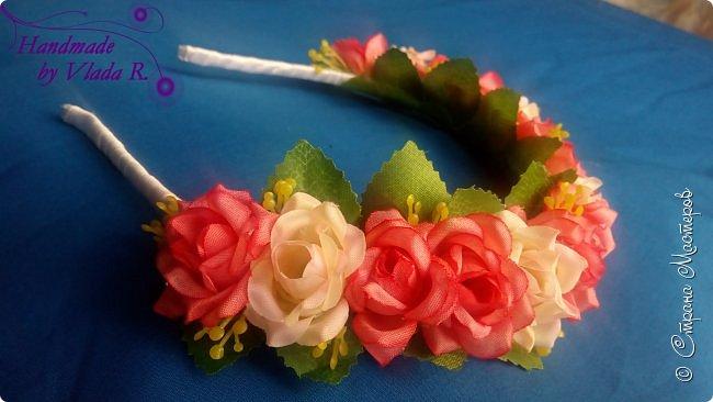 Всем приветик))) За майские праздники сделала парочку новых работ)  Начнем с ободка из искусственных цветов, всем очень понравился предыдущий ободок такого плана, поэтому решила сделать еще один))) фото 1
