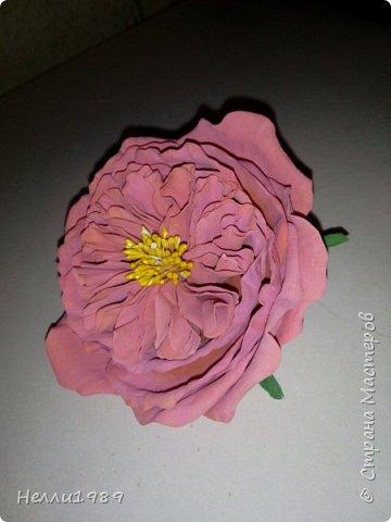 Пионовидная роза из фома фото 3