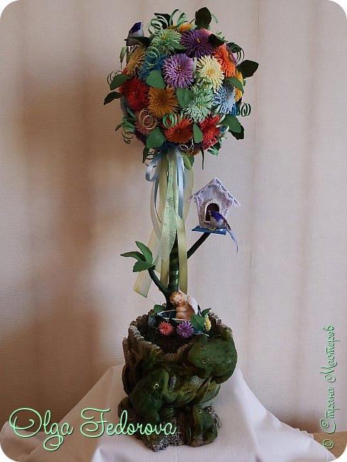 Доброго всем дня! Вот такое сказочное деревце у меня получилось, хотя изначально планировалось сделать цветочный шар как у Vitulichka. Потом сюда прилетели птички и присел отдохнуть ангелок. фото 1