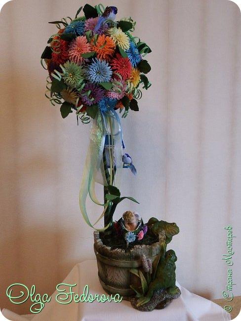 Доброго всем дня! Вот такое сказочное деревце у меня получилось, хотя изначально планировалось сделать цветочный шар как у Vitulichka. Потом сюда прилетели птички и присел отдохнуть ангелок. фото 2