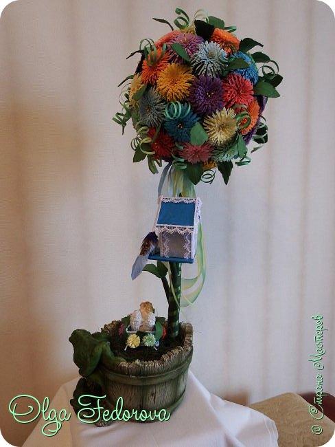 Доброго всем дня! Вот такое сказочное деревце у меня получилось, хотя изначально планировалось сделать цветочный шар как у Vitulichka. Потом сюда прилетели птички и присел отдохнуть ангелок. фото 4