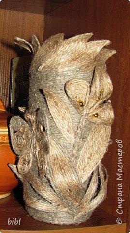 Карандашница-повторюшка из баночки от зелёного горошка. Очень понравилась идея поработать с джутовым шпагатом, которую я увидела здесь http://stranamasterov.ru/node/381078                          фото 12