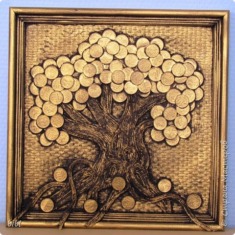 Первое денежное дерево делала по мастер-классу http://stranamasterov.ru/node/578436 . Только не на мешковине, а на канве.  фото 2