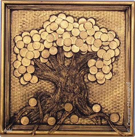 Первое денежное дерево делала по мастер-классу http://stranamasterov.ru/node/578436 . Только не на мешковине, а на канве.  фото 3