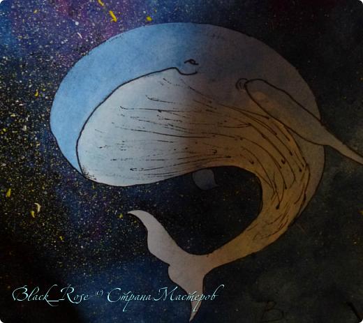 """И снова здравствуйте.)  Я решила сделать и вторую работу на конкурс: """"Мой маленький космос"""". Назвала я ее """"Космические киты"""". Банально, но по теме. фото 4"""