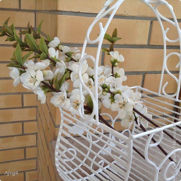 Цветущий хеномелес или Японская айва из холодного фарфора. фото 23