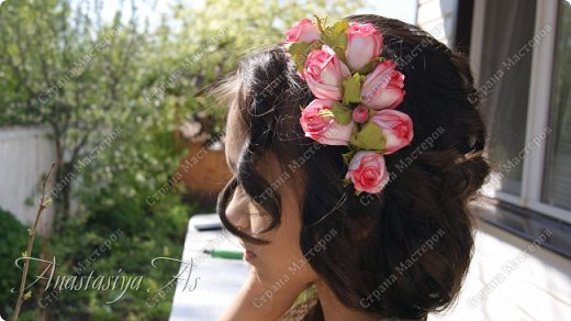 Всем здравствуйте!!! Еще один ободок для моей девочки. На этот раз с розами.Хотела сделать бутоны, но получилось....то,что получилось))) фото 1