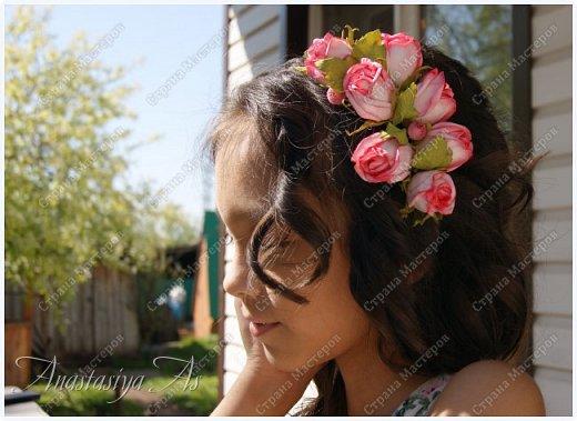 Всем здравствуйте!!! Еще один ободок для моей девочки. На этот раз с розами.Хотела сделать бутоны, но получилось....то,что получилось))) фото 2