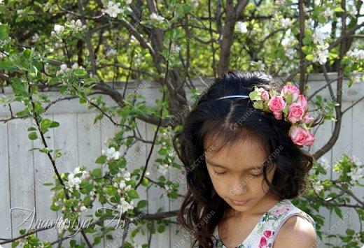 Всем здравствуйте!!! Еще один ободок для моей девочки. На этот раз с розами.Хотела сделать бутоны, но получилось....то,что получилось))) фото 5