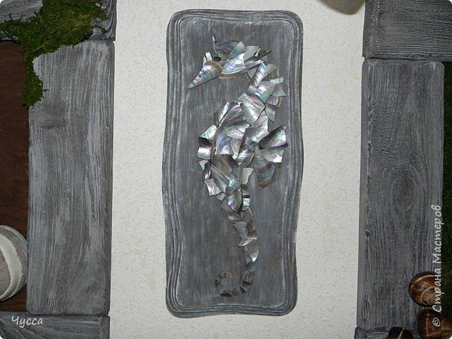 Доброго времени суток соседи! Добралась и до холла...Пустовала у меня стена напротив рыбьего дома (аквариума) и мне очень хотелось чтобы ентот самый аквариум отражался в зеркале...Захотелось - сделала.. Да и ещё никакие цветы в холле не растут - света не хватает и придумались  панно со стабилизированным мхом. Дальше немного расскажу как что делала. фото 9