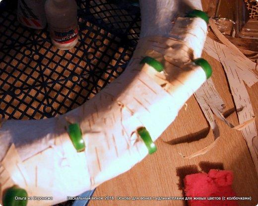 """Для этого венка понадобились: проволока, газета, клей ПВА, береста, нож, папиросная бумага, малярная лента, удлинители для цветов, термопистолет, лента, медицинский шприц на 10-20 мл. ДЛя декора - живые ветки, цветы по желанию, а также сувенирное пасхальное яйцо, искусственное гнездо и птичка. Во время поиска МК венка, оформленного берестой, увидела фотографии венка Vалери  """"Декоративный венок"""" http://stranamasterov.ru/node/594577    МК и детального описания изготовления не было, но фотография очень помогла. Vалери, спасибо.  .  фото 14"""