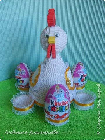Здравствуйте, жители Страны Мастеров и гости! Представляю Вам свое творение из гофрированного картона - пасхальную курочку-подставку для яиц. фото 7
