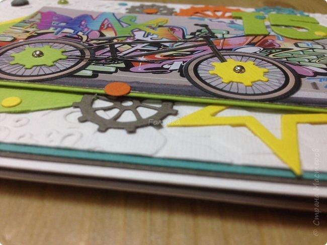 Вот такая яркая открытка для мальчишки на День рождения, который увлекается BMX фото 3