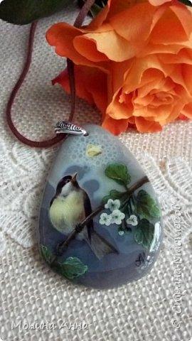 """Кулон """"Яблоки в снегу"""". Камень агат натуральный. фото 3"""