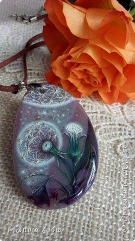 """Кулон """"Яблоки в снегу"""". Камень агат натуральный. фото 4"""