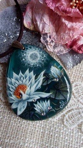 """Кулон """"Яблоки в снегу"""". Камень агат натуральный. фото 8"""