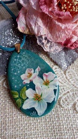 """Кулон """"Яблоки в снегу"""". Камень агат натуральный. фото 9"""