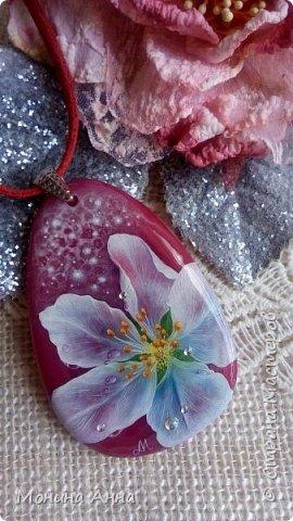 """Кулон """"Яблоки в снегу"""". Камень агат натуральный. фото 10"""