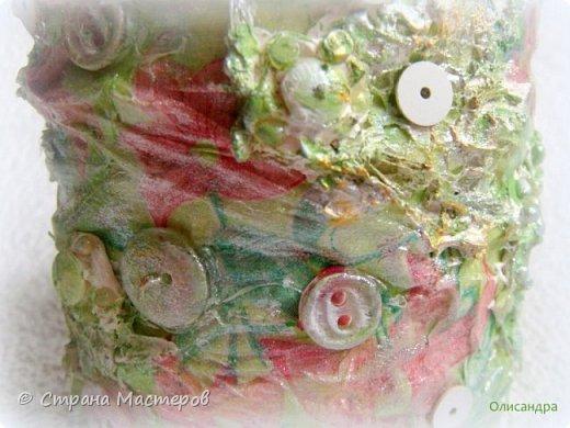 Предыдущие органайзеры и карандашницы... https://stranamasterov.ru/node/221855?t=292 *********************************************** Приветствую вас, дорогие друзья! В Питере тепло и солнечно. Листики на деревьях распустились, а цвет цвет молодой листвы - это чудо, поэтому выбирая палитру для очередной баночки-органайзера  остановилась на салатовой салфетке. фото 8