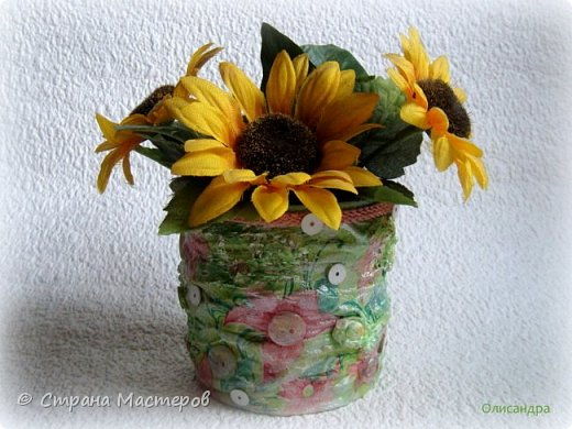 Предыдущие органайзеры и карандашницы... http://stranamasterov.ru/node/221855?t=292 *********************************************** Приветствую вас, дорогие друзья! В Питере тепло и солнечно. Листики на деревьях распустились, а цвет цвет молодой листвы - это чудо, поэтому выбирая палитру для очередной баночки-органайзера  остановилась на салатовой салфетке. фото 4