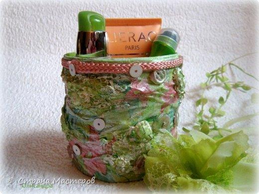 Предыдущие органайзеры и карандашницы... http://stranamasterov.ru/node/221855?t=292 *********************************************** Приветствую вас, дорогие друзья! В Питере тепло и солнечно. Листики на деревьях распустились, а цвет цвет молодой листвы - это чудо, поэтому выбирая палитру для очередной баночки-органайзера  остановилась на салатовой салфетке. фото 6