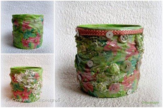 Предыдущие органайзеры и карандашницы... http://stranamasterov.ru/node/221855?t=292 *********************************************** Приветствую вас, дорогие друзья! В Питере тепло и солнечно. Листики на деревьях распустились, а цвет цвет молодой листвы - это чудо, поэтому выбирая палитру для очередной баночки-органайзера  остановилась на салатовой салфетке. фото 7