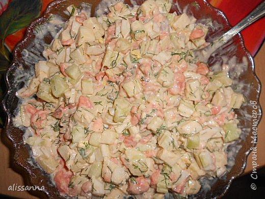 Доброе время суток....жители Страны....))))))))) предлагаю вашему вниманию салатики на скорую руку....)))) основным компонентом этих салатов является слабосоленая семга....если это дорогое удовольствие...то легко заменяется на сельдь.... фото 2