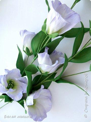 Чем сложнее цветок - тем сильнее хочется его сделать! Так, видимо, и со мной. Экспериментировала в изготовлении эустомы. Вот и результат фото 1