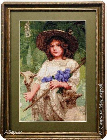 Знакомьтесь!  Это Пастушка .Вышита в технике полный крест по картине известного а свое время английского художника Артура Джона Элсли. А известен он  был именно тем, что изображал на своих полотнах детей и животных.  фото 3