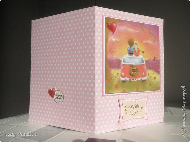 """Открытка на День Святого Валентина. Открыток с воздушным шаром в интернете множество, поэтому не могу сказать, что моя - лифтинг какой-то конкретной работы, скорее всего сделана """"по мотивам"""".   фото 6"""