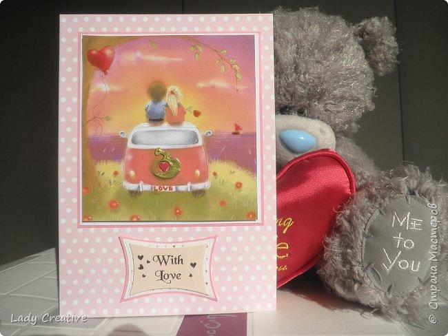 """Открытка на День Святого Валентина. Открыток с воздушным шаром в интернете множество, поэтому не могу сказать, что моя - лифтинг какой-то конкретной работы, скорее всего сделана """"по мотивам"""".   фото 4"""