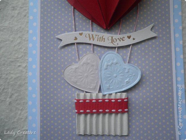 """Открытка на День Святого Валентина. Открыток с воздушным шаром в интернете множество, поэтому не могу сказать, что моя - лифтинг какой-то конкретной работы, скорее всего сделана """"по мотивам"""".   фото 2"""