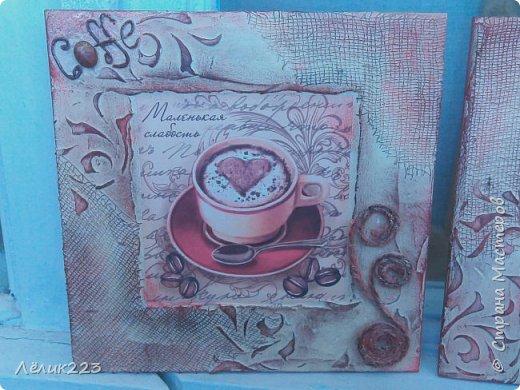 """всем  снова приветики!!! захотелось мне себе панношки сделать на кофейную тему. маленькие такие. но вышли большие (по 15 см). вырезала заготовки из фанеры. текстурная паста, бинт, трафарет, декупажная карта, слово """"кофе"""" в углу выложила ниткой из салфетки (пейп-арт), джут. фото 1"""