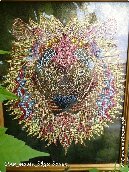 Вот такой получился лев.Рисунок контурами,фон не хотелось простой,поэтому сделала двухцветный позолота и черный. фото 4