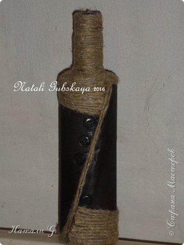 Мужской вариант декора бутылки фото 1
