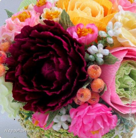 После 8 марта поднакопилось немножко работ. Решила попробовать сделать цветы в кашпо.  фото 2