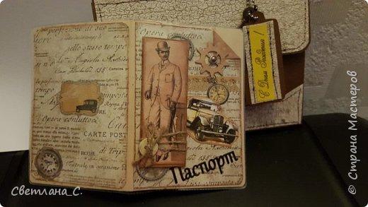 Как хорошо ,что есть Вы- наши мастерицы и Ваши МК. Спасибо Вам большое!  Обложка на паспорт и портфельчик для мужчины на День рождения.  фото 2
