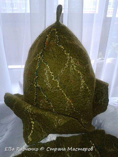 """Вот такой симпатичный комплектик для бани Банный Лист"""" сваляла в подарок. Шапочка в парилку и коврик для """"мягкой"""" посадки. Сделан в технике мокрого валяния из натуральной овечьей шерсти. фото 3"""