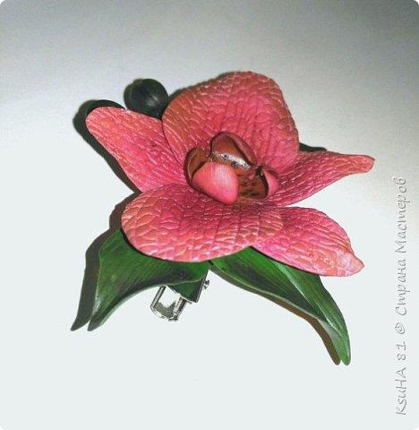 """моя первая работа из полимерной глины modern """"ЗАКОЛОЧКА-БРОШЬ с орхидеей""""... фото 2"""